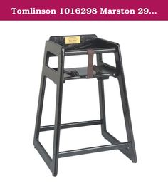 """Tomlinson 1016298 Marston 29"""" Black High Chair. This solid oak high chair is made with ¾"""" thick wood. This high chair is constructed with durability in mind, use of mortise and tenon frame construction insures the high chair's strength. This high chair has instant-release safety straps and a large contoured seat. Round edges keep food from collecting on the high chair. High chairs easily stack and store.Depth: 19"""" Height: 29"""" Width: 18"""" Height to Seat: 21"""" Height to Arm: 26-¾"""" Color…"""