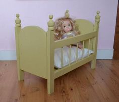 This little doll crib is extremely close to the one my dad made for me and my sisters! Diy Dolls Crib, Baby Doll Crib, Diy Crib, Doll Beds, Baby Cribs, Baby Dolls, Baby Beds, Girl Dolls, Doll Furniture