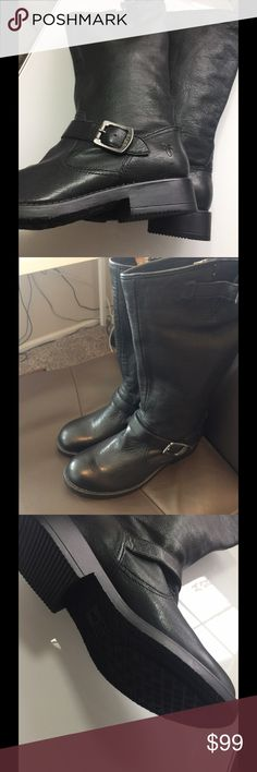 New Frye black boots size 4 Youth Black buckle Frye boots  Kids Veronica slouch black Stretchy top easy to get foot in Brand new $138 I would say they could fit a Woman's 5.5-6 Frye Shoes Heeled Boots