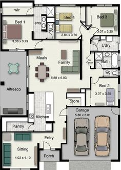 Eureka 251 Floor Plan-Hotondo Homes House Layout Plans, Floor Plan Layout, Dream House Plans, Small House Plans, House Layouts, House Floor Plans, Minecraft House Designs, Home Design Floor Plans, House Blueprints