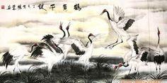 Chinese Crane Painting,69cm x 138cm,2511001-x