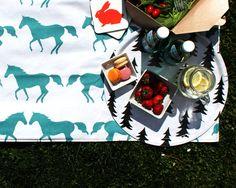 Anorak Kissing Horses Picnic Blanket