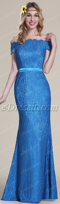 Off shoulder blue lace gown, your perfect choice! #edressit #dress #fashion #lace #blue