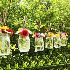 DIY Mason Jar Hanging Vase for Summer Clothesline