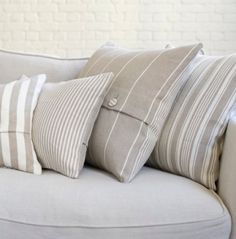 cushions stripes, etc Soft Furnishings, My Ideal Home, Throw Pillows, Cushions, Farmhouse Decor, Neutral Cushions, Pillow Styling, Scatter Cushions, Furnishings