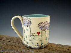 Faith Mug with carved inlay details. Bird, Rain, Clouds, Hearts and Rainbow. Turquoise inside ~ Hand-built Mishima Art Mug.  DirtKicker Pottery.