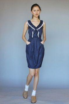 Karen Walker for Anthropologie navy and white dress