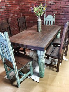 turquoise dining set | A Western Rustic Home | Home, Kitchen decor, Dining room sets