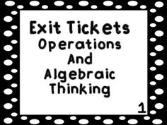 These exit tickets can be used to do a quick assessment for the Operations and Algebraic Thinking standards in Kindergarten. You can use the exit tickets on the Smartboard or the Promethean Board. The exit tickets can also be printed to be used on the ELMO or as paper exit tickets.There are printable exit ticket cards included in the packet that I use in my classroom.