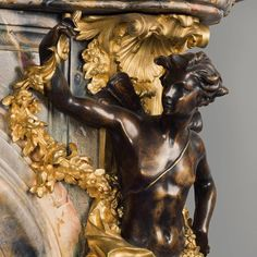 Detail From Louis XV Style Gilt and Patinated Bronze Mounted Marble Fireplace With Gilt Bronze Mounts Depicting Flora and Zephyr, After The Model By Verberckt and Caffieri at Versailles - #adrianalan
