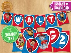 Paw Patrol Banner EDITABLE TEXT Customized Party Pennants