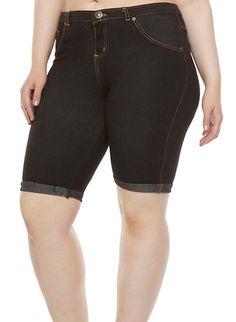 Plus Size Cuffed Jegging Bermuda Shorts