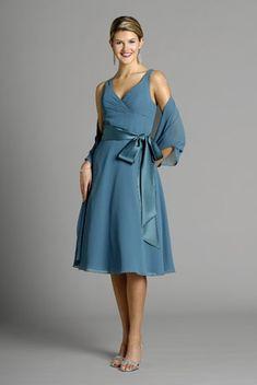 V-neck blue chiffon sleeveless pleated sash bowknot tea-length Mother Of The Bride Dress MBD260009