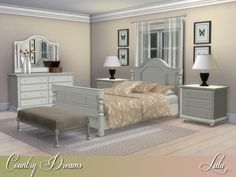 This bedroom has an offbeat charm of shabby chic nature , perfect for a country bedroom.  Overall, the entire bedroom set exudes elegance, and a charming homeliness  Found in TSR Category 'Sims 4...