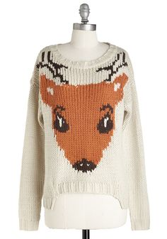 If I Could, I Woodland Sweater - WPI, Holiday, Critters, Mid-length, Knit, Cream, Print with Animals, Casual, Woodland Creature, Long Sleeve, Gals