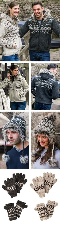 Unisex styling featuring cosy faux fur trim on jackets and hat, choice of hand warmers or gloves complete the range. Hand made in Nepal, fairly traded by Namaste. Fur Trim, Hand Warmers, Fair Trade, Nepal, Namaste, Cosy, Hand Knitting, Lace Skirt, Faux Fur