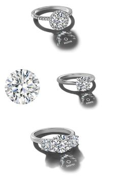 The round shape diamond – a timeless classic that transcends fashion trends – can find its place in your perfect ring. 1) Forevermark halo engagement ring with pavé  band, 2) solitaire diamond engagement ring, 3) a three stone diamond engagement ring.