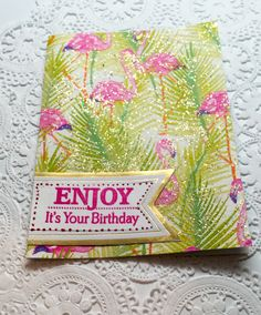 Very sparkly Flamingo birthday card