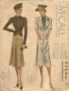 McCall 9724 | 1930s Misses' Two-Piece Suit