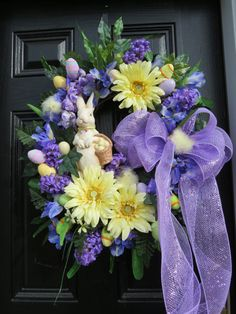 Easter Door Wreath,Easter Bunny Easter Eggs, baby chicks XL yellow Gerber daisies Deco Mesh Ribbon Spring Pastel yellows and lavender colors