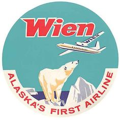 Wien Airlines- Alaska  Vintage-Style  1950's Travel Decal-Sticker-Luggage Label