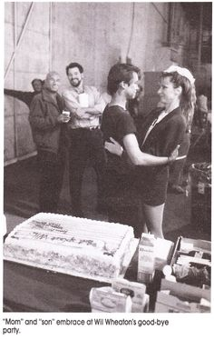 Wil Wheaton's last day shooting Star Trek T.N.G. My question: is Gates McFadden not wearing pants??  I think this is Stage16 at Paramount.