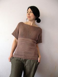Wren knit sweater/top method, sideways garter for top, pick up stitches at bottom and knit stockinette down - free how to on knitting this, but no row by row pattern.  I think this is fabulous...I often do this w/ smaller projects, but I may try this sweater.