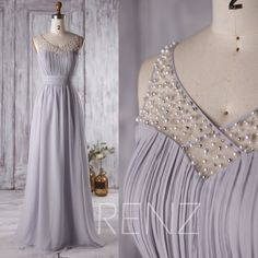 2016 Light Grey Bridesmaid Dress Long, Mesh Beading Wedding Dress, Sweetheart Prom Dress, Illusion Neck Formal Dress Floor Length (L125)