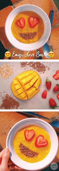 Emoji Love Breakfast Bowl - Oats topped with mango, strawberries, and flax seed!