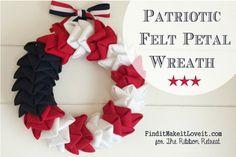 Patriotic Felt Petal Wreath - The Ribbon Retreat Blog