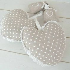 Padded hanging heart scented  x 1 Taupe polka dot French country shabby CLF428D £4.99