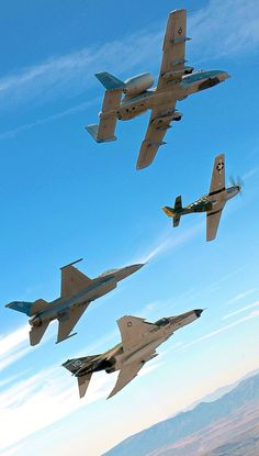 A-10 Warthog, P-51 Mustang. F-16 Fighting Falcon,  F-4 Phantom and the F-15 Strike Eagle.