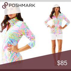 Lilly Pulitzer UPF 50+ Reagan zip up sweatshirt Pink pout shellabrate Lilly Pulitzer Jackets & Coats