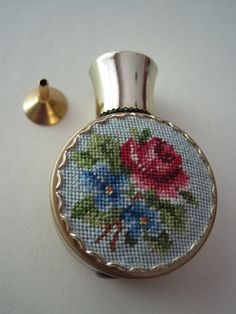 Precious #Vintage Petit Point #Perfume #Bottle & Funnel Embroidery from bliss on Ruby Lane
