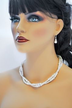 Pearl and Rhinestone Necklace twisted Statement by ABbling on Etsy, $56.00