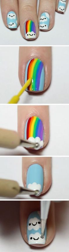 Kawaii Rainbow 19 Easy St Patricks Day Nail Designs Easy Nail Art for Beginners Step by Step Trendy Nail Art, Cute Nail Art, Nail Art Diy, Easy Nail Art, Diy Nails, Diy Art, Nail Art Ideas, Kawaii Nail Art, Simple Nail Designs
