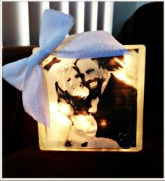 Lighted Wedding Glass Block by CreationsByEmilyD on Etsy, $25.00