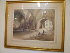 Original Sir William Russell Flint Watercolor Signed Gothic Market Hall Braulane #Victorian