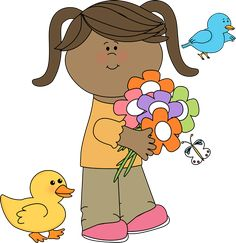 Cute Spring Clip Art | Spring Friends Clip Art Image - little girl holding a bunch of flowers ...
