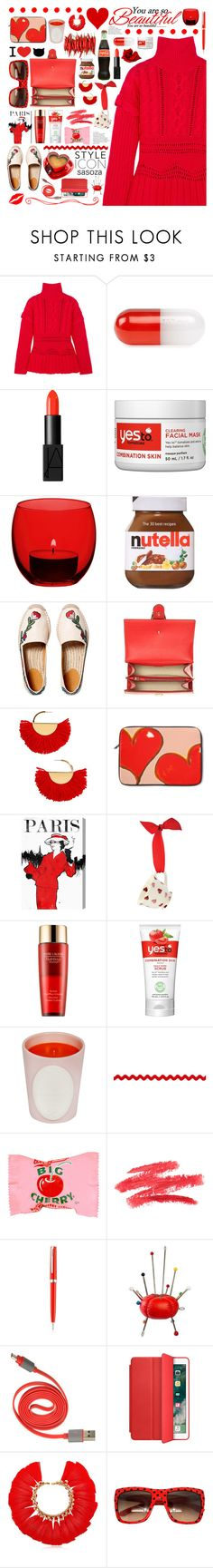 """red by Sasoza"" by sasooza ❤ liked on Polyvore featuring Altuzarra, Jonathan Adler, NARS Cosmetics, Yes To, LSA International, Gucci, BaubleBar, Oliver Gal Artist Co., Estée Lauder and Ladurée"