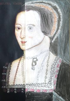 Tudor portraits with KS2, using a photocopy of a painting - in this case Anne Boleyn and pencil crayons.