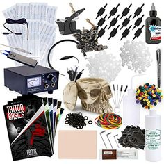 Rehab Ink Complete Tattoo Set w 2 Guns Power Supply Starbrite Ink Skull Ink Holder  More ** You can get more details by clicking on the image. Note:It is Affiliate Link to Amazon.