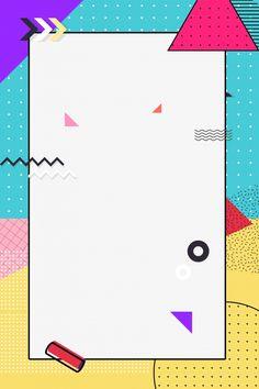Memphis fashion geometry contrast color Background Design Vector, Background Templates, Background Images, Geometric Background, Instagram Background, Instagram Frame, Name Card Design, Banner Design, Doodle Frames