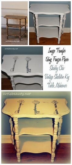 ART IS BEAUTY: Shabby Chic vintage Skeleton Key Table (freezer paper transfer)