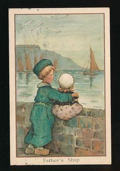 Netherlands Dutch children Father's Ship used 1913 PPC | eBay