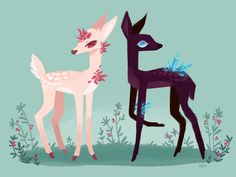 """katherine-devries: """" finally got to draw some more lil crystal deers! """""""