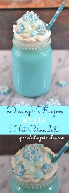 Not only is the Disneys Frozen White Hot Chocolate creamy and delicious, it is BEAUTIFUL! Your Frozen fan will absolutely freak out when they see this. Pin for Later! christmas food and drinks Christmas Drinks, Holiday Drinks, Christmas Desserts, Christmas Treats, Christmas Baking, Holiday Treats, Holiday Recipes, Christmas Christmas, Christmas Brunch