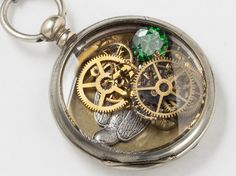 Steampunk Necklace Antique Silver pocket watch by steampunknation, $109.00