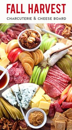 Learn how to make an easy charcuterie board to celebrate the fall season with cured meats, cheese, fruits, nuts & crackers! It's simple to build one in 30 minutes or less & you can make it small or large. This particular board features cheeses & meats from Trader Joes but you can use whatever you have on hand or just browse the pictures for ideas! This platter makes an eye-catching appetizer or snack board for Halloween, Thanksgiving, Christmas, game day, a wedding, or autumn entertaining. Meat Cheese Platters, Meat And Cheese, Food Platters, Meat Platter, Charcuterie Board Meats, Charcuterie Recipes, Charcuterie Cheese, Fall Appetizers, Appetizer Recipes