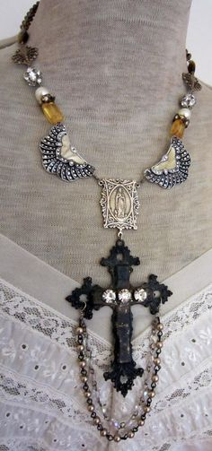Art Deco cross - vintage assemblage necklace by TheFrenchCircus on etsy